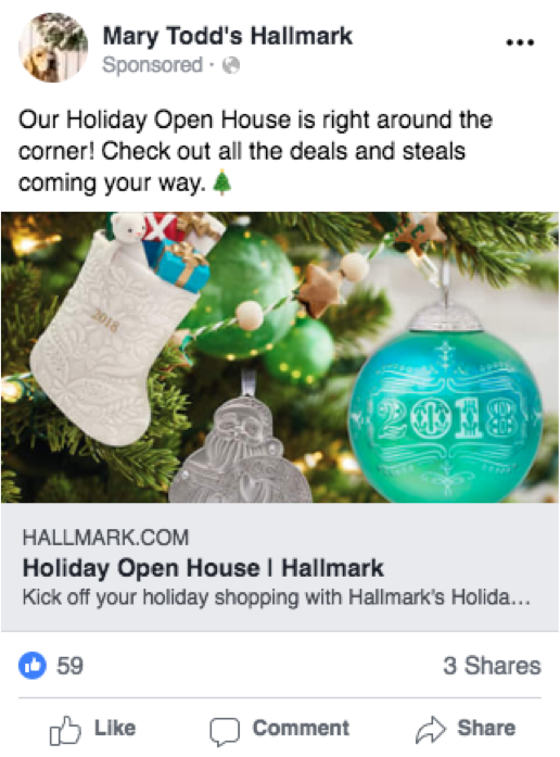 Most Recent Ad - Mary Todd's Hallmark