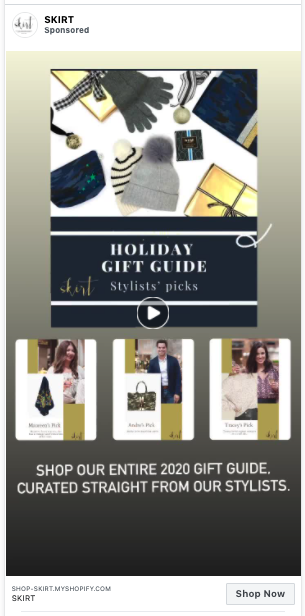 facebook and instagram ads for a gift guide